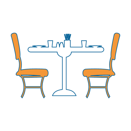 白地カラフルなデザインのベクトル図にテーブルと椅子のアイコン