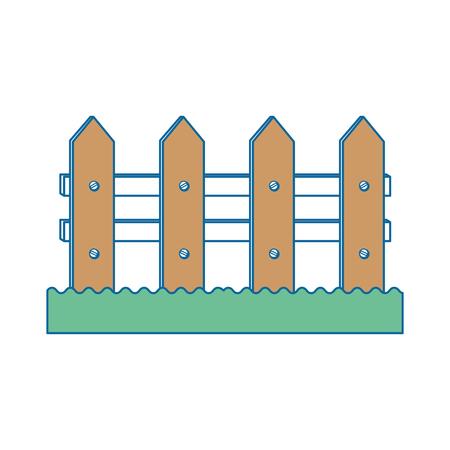 흰색 배경 위에 나무 울타리 아이콘 화려한 디자인 벡터 일러스트 레이 션