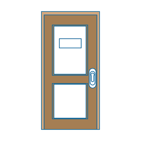 door icon over white background colorful design vector illustration Иллюстрация