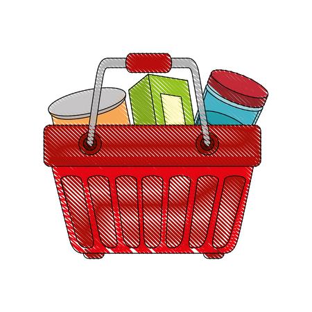 Cesta de compras con icono de comida sobre fondo blanco ilustración de vector de diseño colorido Foto de archivo - 81142601