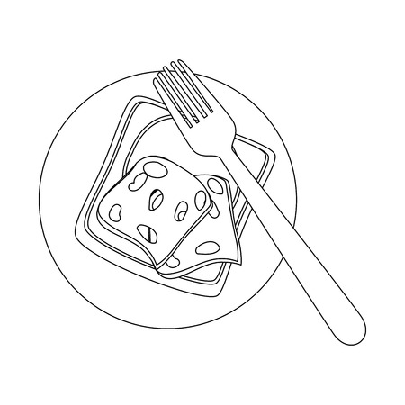 dish with ham slices icon over white background vector illustration