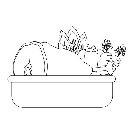 野菜アイコン白背景ベクトル図の上でハム脚  イラスト・ベクター素材