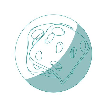 ハムのスライス アイコン白背景ベクトル イラスト上皿します。
