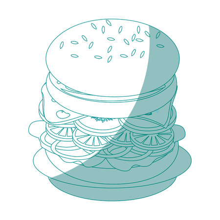 dish with hamburger icon over white background vector illustration