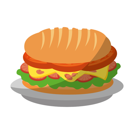 hamburger icon over white background colorful design vector illustration Ilustração