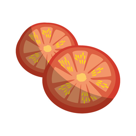 tomato slices vegetable icon over white background vector illustration