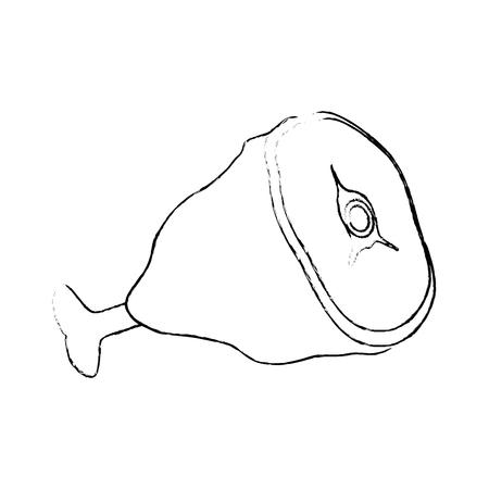 白背景ベクトル イラスト上のハム脚アイコン