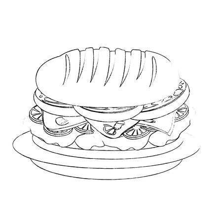 hamburger icon over white background vector illustration Çizim