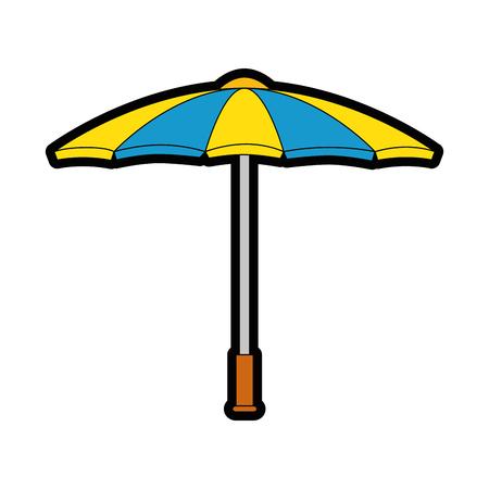 Een parasolpictogram over witte vectorillustratie als achtergrond.