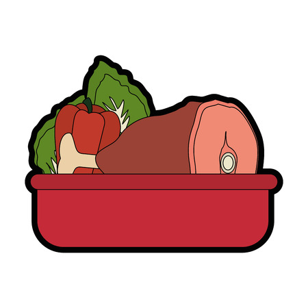 Ham leg with a vegetable icon over white background colorful design vector illustration.