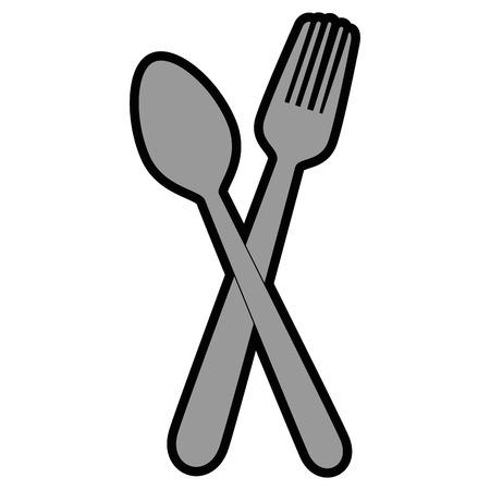 Un icono de cuchara y tenedor sobre fondo blanco vector la ilustración. Foto de archivo - 81166736