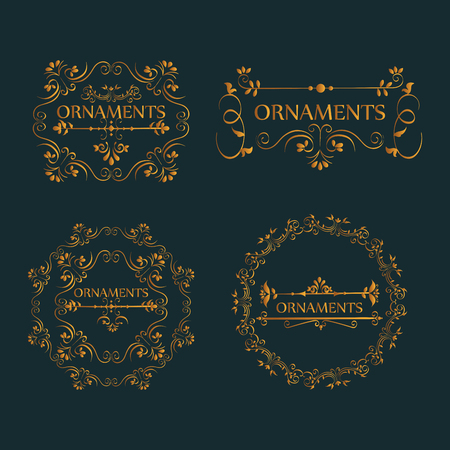Golden ornaments sign with beautiful ornamental frames over dark background vector illustration