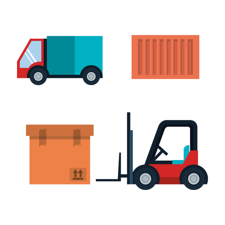 Delivery logistics related object set over white background vector illustration