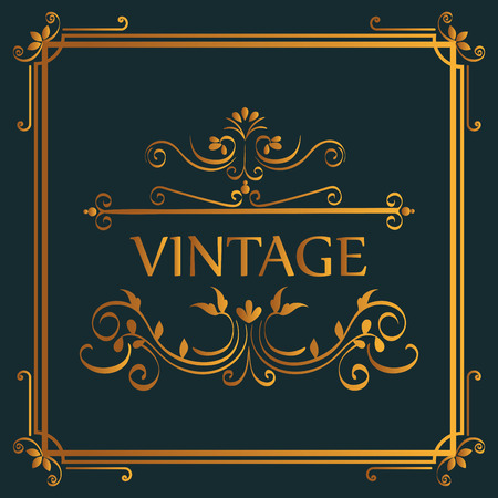 Golden vintage sign with beautiful ornamental borders and frame over dark background vector illustration Illustration