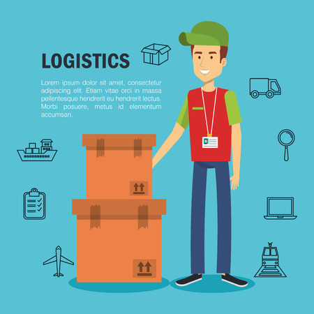 Delivery logistics infographic with man boxes and hand drawn related objects over blue background vector illustration Illustration