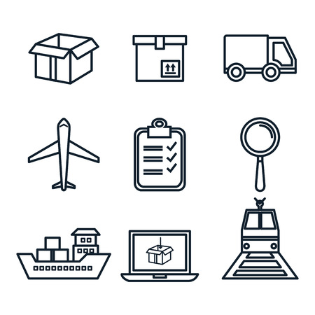 Hand drawn delivery logistics related object set over white background vector illustration