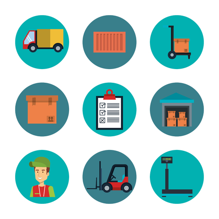 Delivery logistics related icon set over white background vector illustration Stock Vector - 81143788