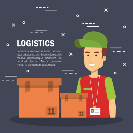 Delivery logistics infographic with worker and boxes over dark background vector illustration