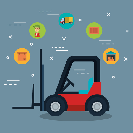 Forklift truck and delivery logistics related icons over gray background vector illustration