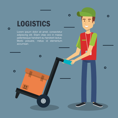 Delivery logistics infographic with male worker holding load carrier platform trolley and box over gray background Stock Vector - 81143791