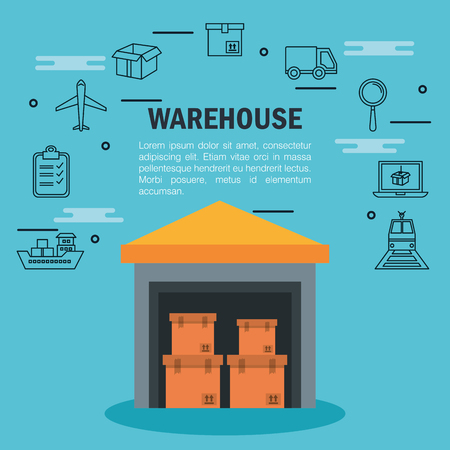 Warehouse infographic with house boxes and hand drawn related icons over blue background vector illustration Çizim
