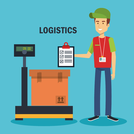 Delivery logistics worker with clipboard and box on industrial scale over blue background vector illustration Stock Vector - 81143794
