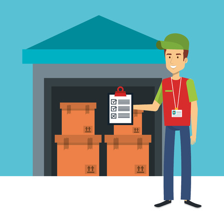 Warehouse with boxes and man with clipboard over white and blue background vector illustration