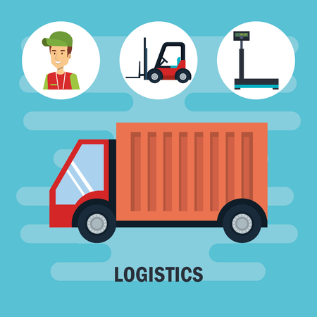 Cargo truck and delivery logistics related icons over blue background vector illustration Illustration