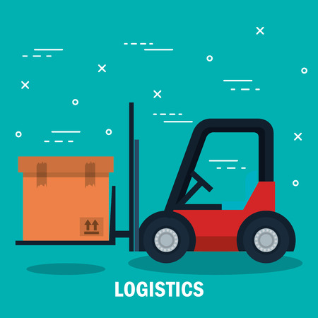 Forklift truck and box over teal background vector illustration