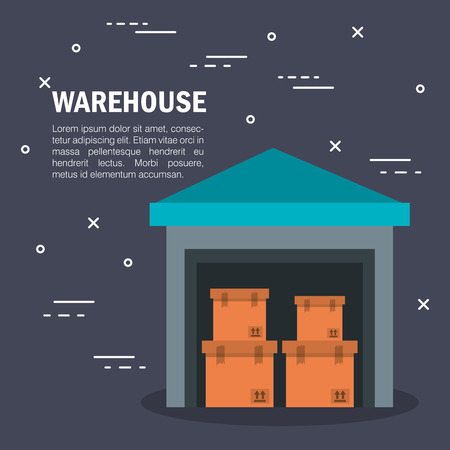 Warehouse infographic with boxes and storage over dark background vector illustration