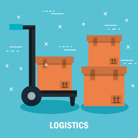 Load carrier platform trolley and boxes over blue background vector illustration