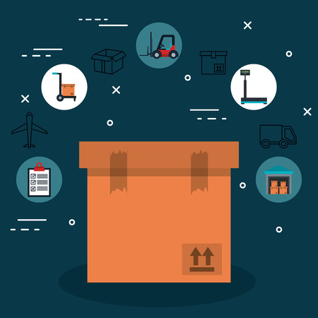 Cardboard box and delivery logistics related icons over blue background vector illustration