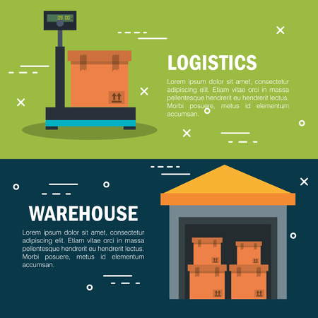 Delivery logistics and warehouse infographic over green and blue background vector illustration Illustration
