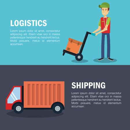 Shipping logistics with worker box and cargo truck over blue and gray background vector illustration
