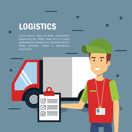 Delivery logistics infographic with working holding clipboard and cargo truck over gray background vector illustration