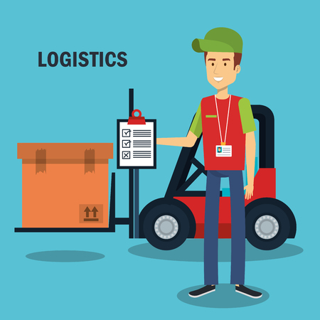 Worker holding clipboard and forklift truck with box over blue background vector illustration Stock Vector - 81143914