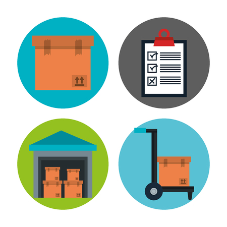 Delivery logistics related icon set over white background vector illustration Illustration