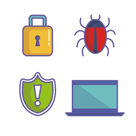 サイバー セキュリティ関連アイコン白背景ベクトル イラスト