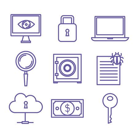 手描きのサイバー セキュリティ関連オブジェクトを白い背景ベクトル図の上