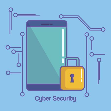 Smartphone with padlock over blue background vector illustration Illustration