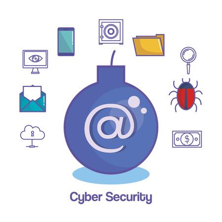 シンボルとサイバー セキュリティ関連で爆弾と白い背景上のオブジェクトはベクトル イラスト
