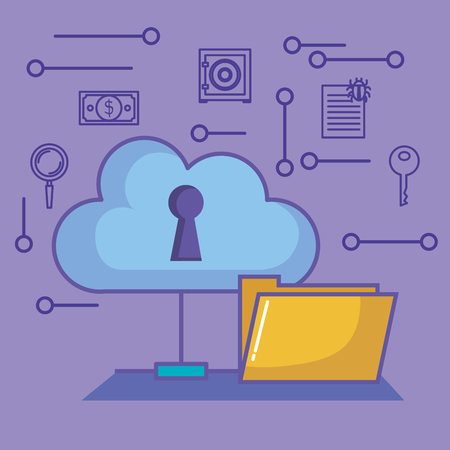 Cloud with keyhole folder and hand drawn cyber security objects over purple background vector illustration