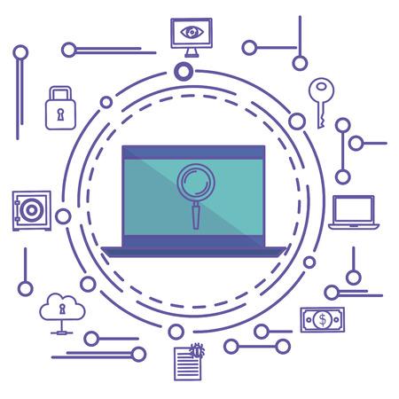 白い背景の上の虫眼鏡ステッカーと手描きのサイバー セキュリティ ノート パソコン関連オブジェクト