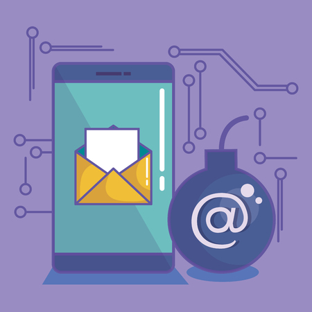 Smartphone with envelope and bomb with at sign over purple background vector illustration Illustration
