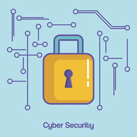Padlock and cyber security sign over blue background vector illustration