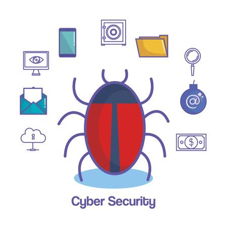 サイバー セキュリティ関連のバグの白い背景上のオブジェクトはベクトル イラスト  イラスト・ベクター素材