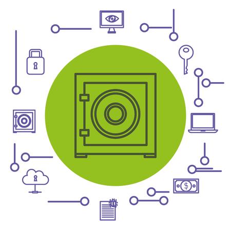手描き下ろし安全アイコンとサイバー セキュリティ関連オブジェクトを白い背景ベクトル図の上 写真素材 - 81143964