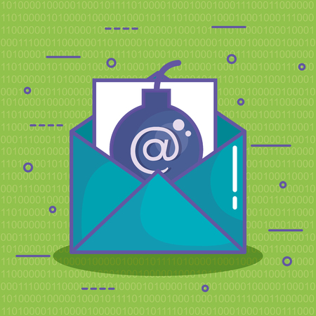 Envelope with bomb and at symbol over green background with binary code vector illustration