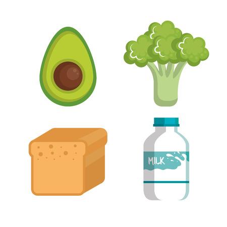 Gesunde Lebensmittel-Symbol über weißem Hintergrund Vektor-Illustration Standard-Bild - 81143970