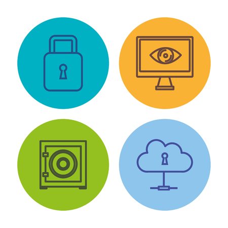 Hand drawn colorful cyber security related icons over white background vector illustration Illustration